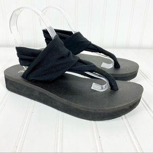 Sanuk Sling wedge sandal black